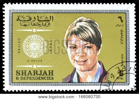 SHARJAH - CIRCA 1968 : Cancelled postage stamp printed by Sharjah, that shows Meyer.