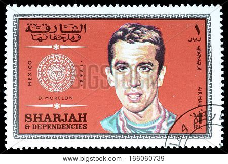 SHARJAH - CIRCA 1968 : Cancelled postage stamp printed by Sharjah, that shows Morelon.