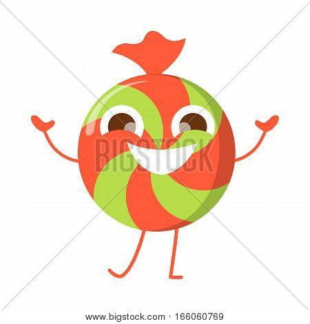 Caramel candy smiling character isolated. Funny sweet cartoon lolly. Happy dancing candy. Confectionery illustration in flat design. Bonbon, sweetmeat, sweet stuff. Restaurant menu for children vector