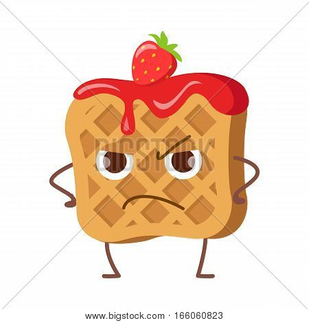 Upset waffle with jam and strawberry isolated. Funny sweet cartoon character. Tasty dessert. Quick snack. Confectionery childish illustration in flat design. Angry wafer. Menu for children vector