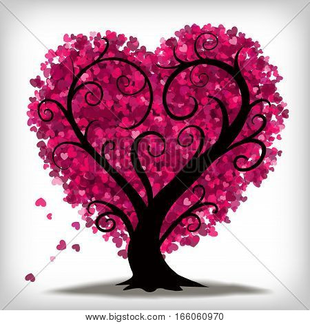 Stylised tree in the shape of a love heart with little pink hearts for leaves.