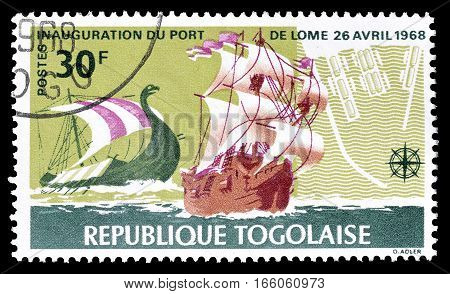 TOGO - CIRCA 1968 : Cancelled postage stamp printed by Togo, that shows Old sail ships.