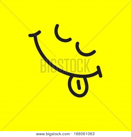 Happy smiley face with tongue hanging out. Smiling face. Vector illustration to  world day of laughter.