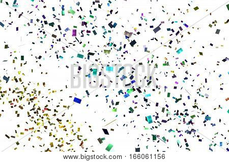 Falling Colorful Glitter Foil Confetti, Color On White Background, Holiday And Festive Fun