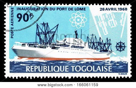 TOGO - CIRCA 1968 : Cancelled postage stamp printed by Togo, that shows ship.