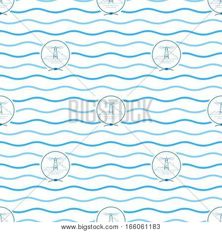 Seamless Pattern with Lighthouse, Emblem Blue Beacon in the Middle of a Rope on a Background of Blue Waves ,Seamless Pattern with Marine Element for Web Design or Wallpaper or Fabric