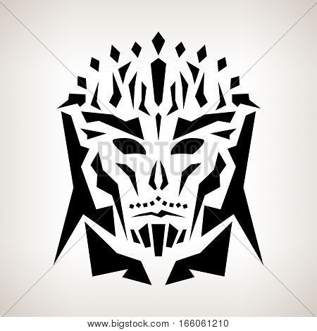 Abstract Mask, Tribal Style ,Tattoo Mask on a Light Background, Black and White Illustration