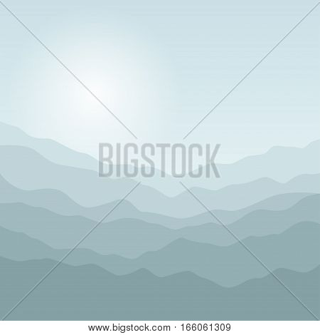 Silhouette of the Mountains at Sunrise, Mountain Ranges in Shades of Green Waves