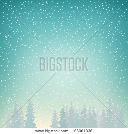 Snowfall in the Forest. Fir Trees in Winter Background. Christmas Winter Landscape in Turquoise Shades