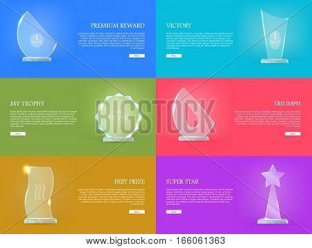 Premium reward. Victory. My trophy. Triumph. Best prize. Super star. Set of trophy rewards web banner. Vector illustration in flat style. Success, victory, reward conceptual banners, web, app icons