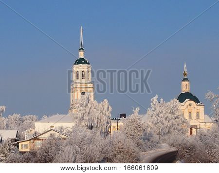 Orthodox church against the background of the clear winter sky