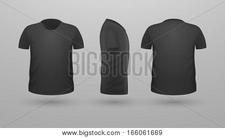 T-shirt template set, front, side, back view. Black color. Realistic vector illustration in flat style. Sport clothing. Casual men wear. Cotton unisex outfit. Fashionable apparel.