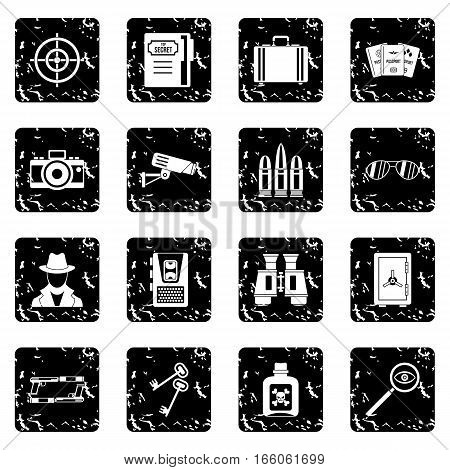 Spy tools icons set in grunge style isolated on white background vector illustration