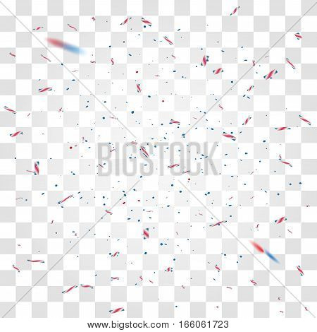 Blue and red confetti on transparent background. Festive holiday design in national usa colors. 4 july inauguration day.
