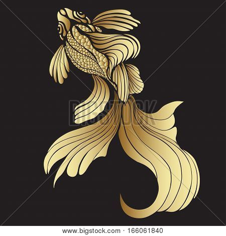 Gold Fish, Graphic. Decorative Abstract Fish, With Golden Scales, Curled Fins On Black Background. J