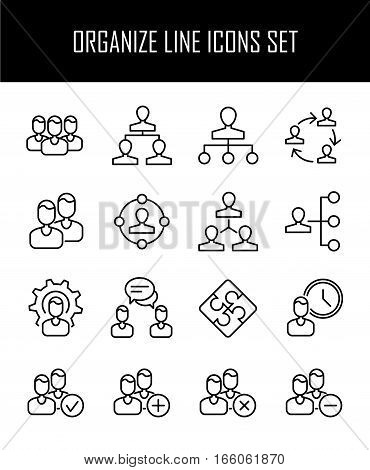 Set of business management in modern thin line style. High quality black outline organize symbols for web site design and mobile apps. Simple business team filter pictograms on a white background.