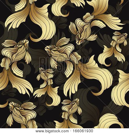 Gold fish seamless pattern. Decorative abstract fish with golden scales curled fins on black background. Jewel ornament. Rich luxurious design element. Wallpaper wrapper fabric design textile print decoration. Vector illustration