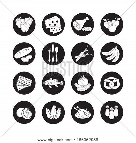 Vector Set Flat Web Icons With Food. Drawn Cartoon Black And White Foodstuffs  Long Shadow In Round