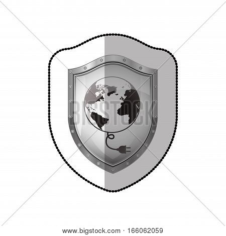 middle shadow sticker of shield with earth map world and power cord vector illustration