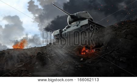 Battle tank on the edge of the ruined areas. Tank battle