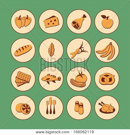 Vector Set Flat Web Icons With Food. Drawn Cartoon Vintage Foodstuffs  Long Shadow In Round Frame Fo
