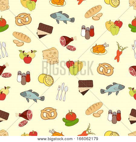 Food Vector Background, Seamless Pattern. Drawn Cartoon Multicolored Foodstuffs On A Yellow . For Th