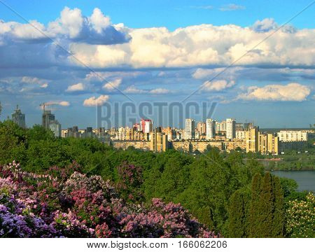 Beautiful view of Kyiv in the sprin, Ukraine