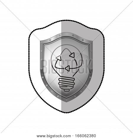 middle shadow sticker of shield with light bulb with filament recycling vector illustration