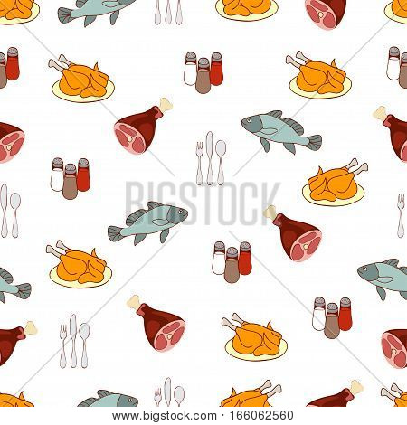 Food Vector Background, Meat And Fish. Drawn Cartoon Multicolored Foodstuffs, Gustable Illustration.