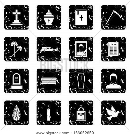 Funeral icons set in grunge style isolated on white background vector illustration