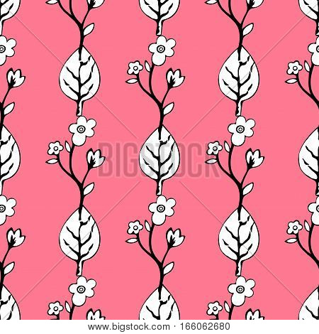 Abstract Flowers And Leaves Seamless Pattern, Vector Background. Black  White    On A Pink . Hand Dr