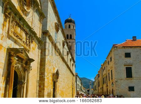 View of the old town of Dubrovnik, Croatia at sunny day. Dubrovnik is a UNESCO World Heritage site