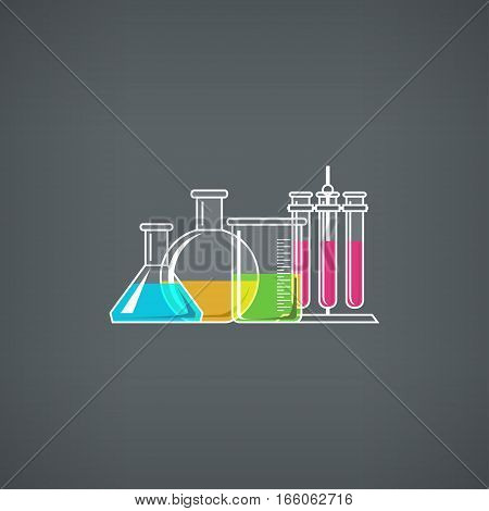 Flasks Beakers and Test-tube, Chemical Laboratory Equipment on Gray Background ,School Chemistry