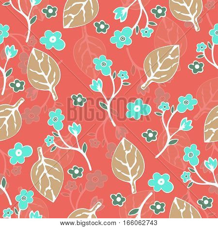 Abstract Flowers And Leaves Seamless Pattern, Vector Background. Hand Drawing For Design Of Wallpape