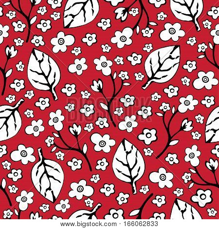 Abstract Flowers And Leaves Seamless Pattern, Vector Background. Black  White    On A Red . Hand Dra