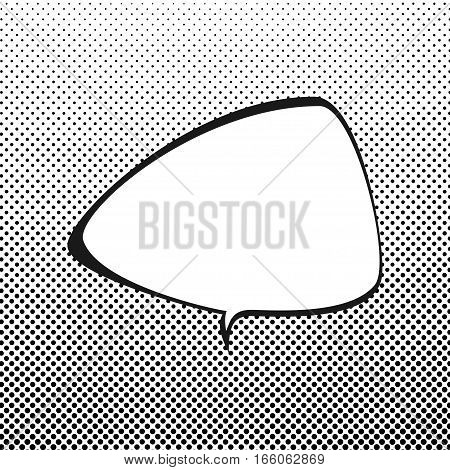 Triangular Speech Bubble on White Background with Black Dots, Speech Bubble on Halftone Background, Retro Style,Gradient Down Up