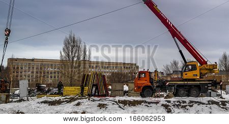 Kazakhstan, Ust-Kamenogorsk, 5 january 2017: Start of construction of a new building, begining of work