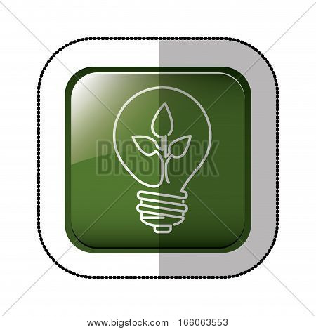 middle shadow sticker of square green with light bulb with filament leaves vector illustration