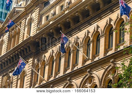 Fine architectural detail work on the Queen Victoria Building in George Street Sydney Australia.