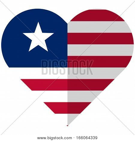 Liberia Flat Heart Flag
