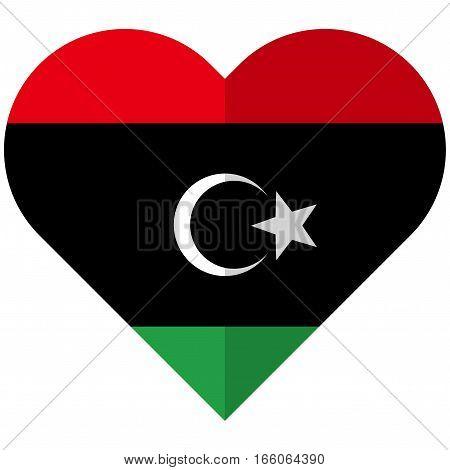 Libya Flat Heart Flag