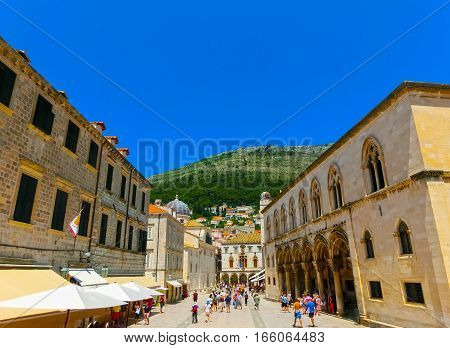 View on the old town of Dubrovnik, Croatia at sunny day. Dubrovnik is a UNESCO World Heritage site