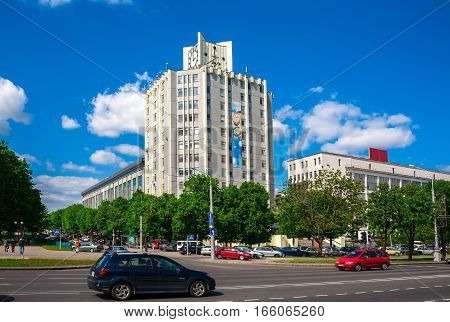 Minsk Belarus traffic on Independence Avenue the plant