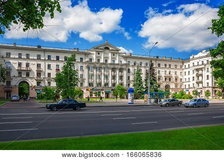 Minsk Belarus traffic on Independence Avenue May 26 2011 urban architecture editorial