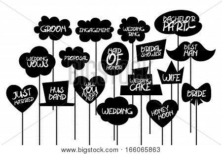 Doodle comic speech bubble black vector. Props label photo on weddings featuring cute and funny phrases isolated on white background.