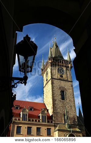Town Hall Tower (Staromestska Radnice) at the Old Town Square Prague Chech republic