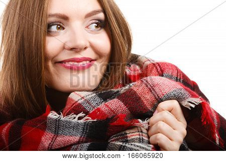 Portrait of long hair girl in bright sweater and warm woolen big scarf. Winter fashion.