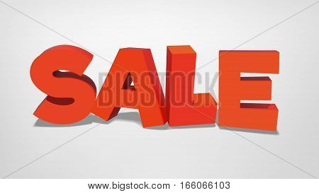 vector sale realistic 3d volume illustration. business purpose Inscription for banner, poster, card, vitrage, advertisement, commercial web design page sight element