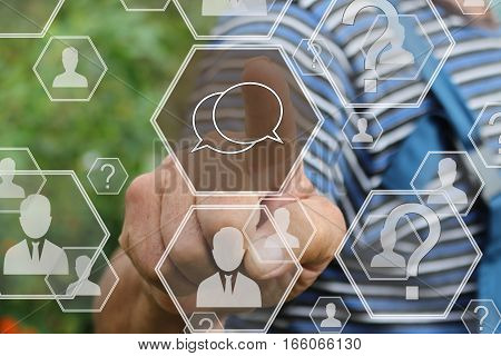 Farmer businessman pressing virtual sign the message web on your touch screen the web network.Tanned hands, male hands of an elderly person.