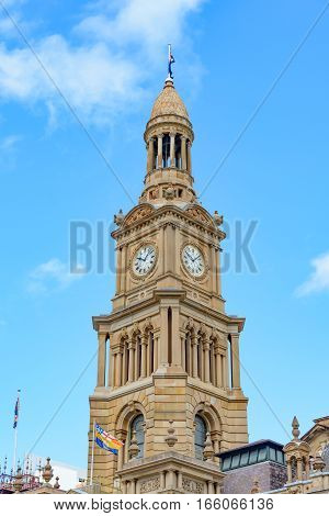 Clocktower of the Sydney Town Hall in Australia New South Wales built in 1889.